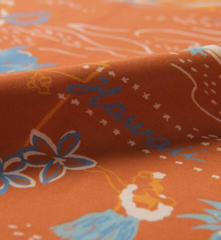 Japanese Terra Cotta Aloha Print Rayon
