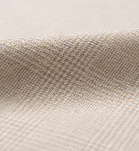 Di Sondrio Beige Natural Dye Glen Plaid Linen
