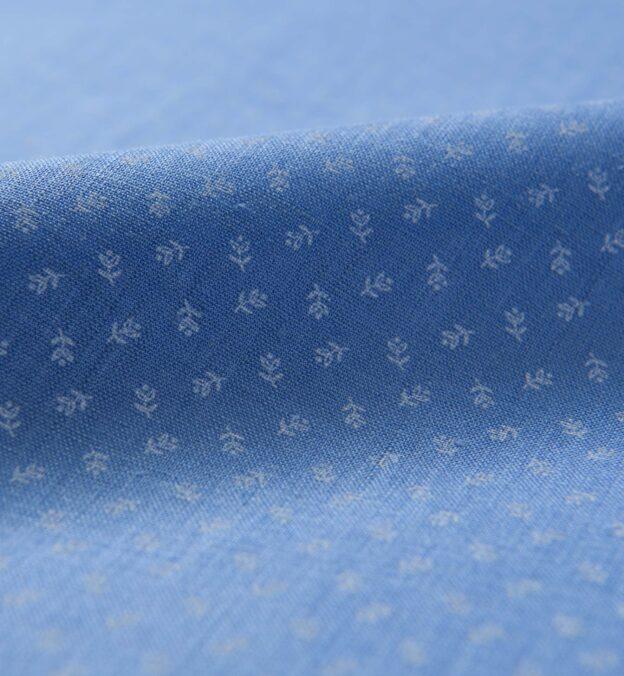 Blue Micro Floral Print Linen