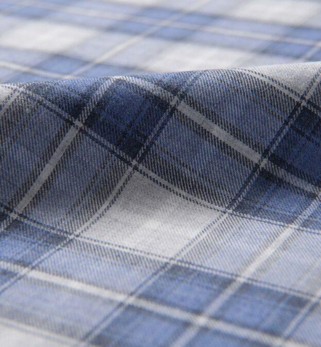 Grey and Blue Melange Plaid