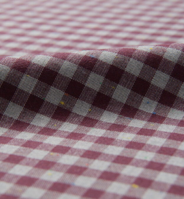 Red and Grey Melange Gingham Donegal Flannel