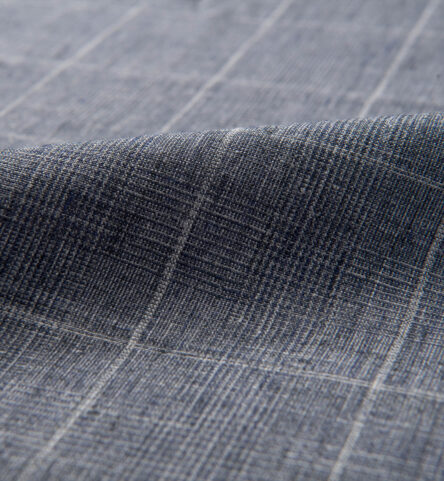 Tessuti di Sondrio Washed Slate Blue Delave Plaid Linen