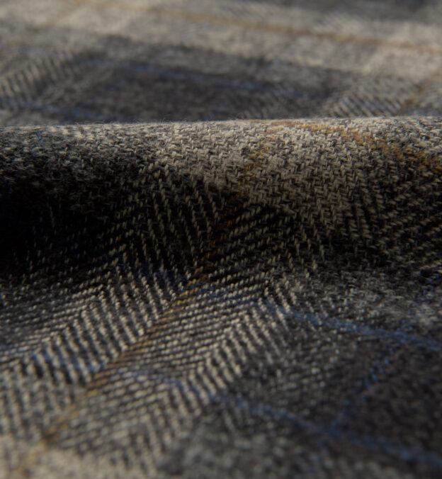 Japanese Washed Grey and Navy Low Twist Plaid
