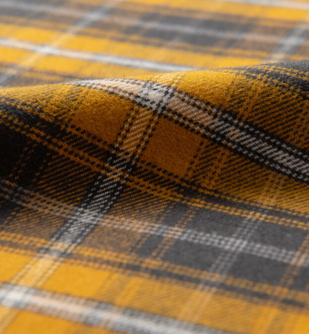 Gold and Charcoal Large Plaid Flannel