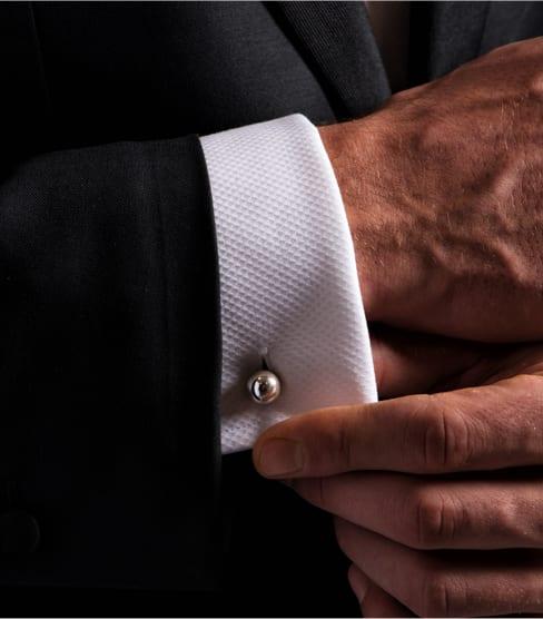 Sterling Silver Tuxedo Cufflinks