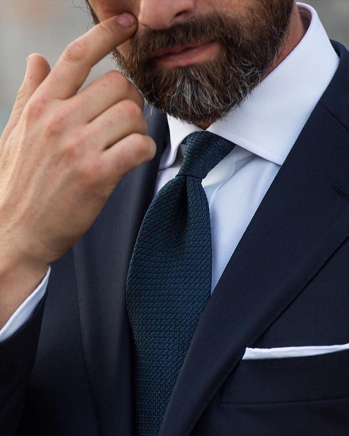 Italian neckwear accessories fw 17 handmade ties proper cloth navy grenadine tie ccuart Images