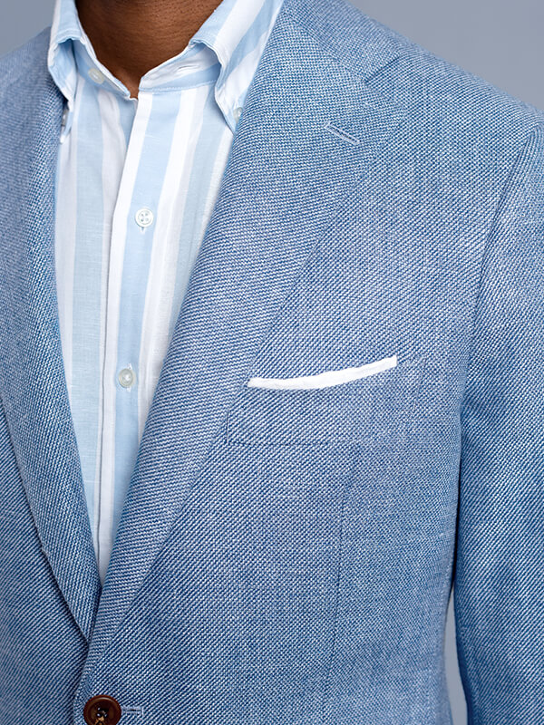 Bedford Navy Windowpane Slub Wool Flannel Jacket