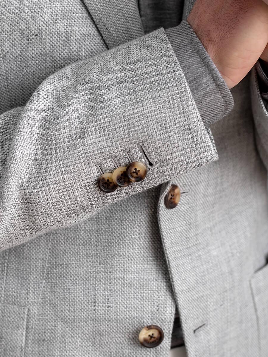 Light Grey Wool and Linen Basketweave Jacket