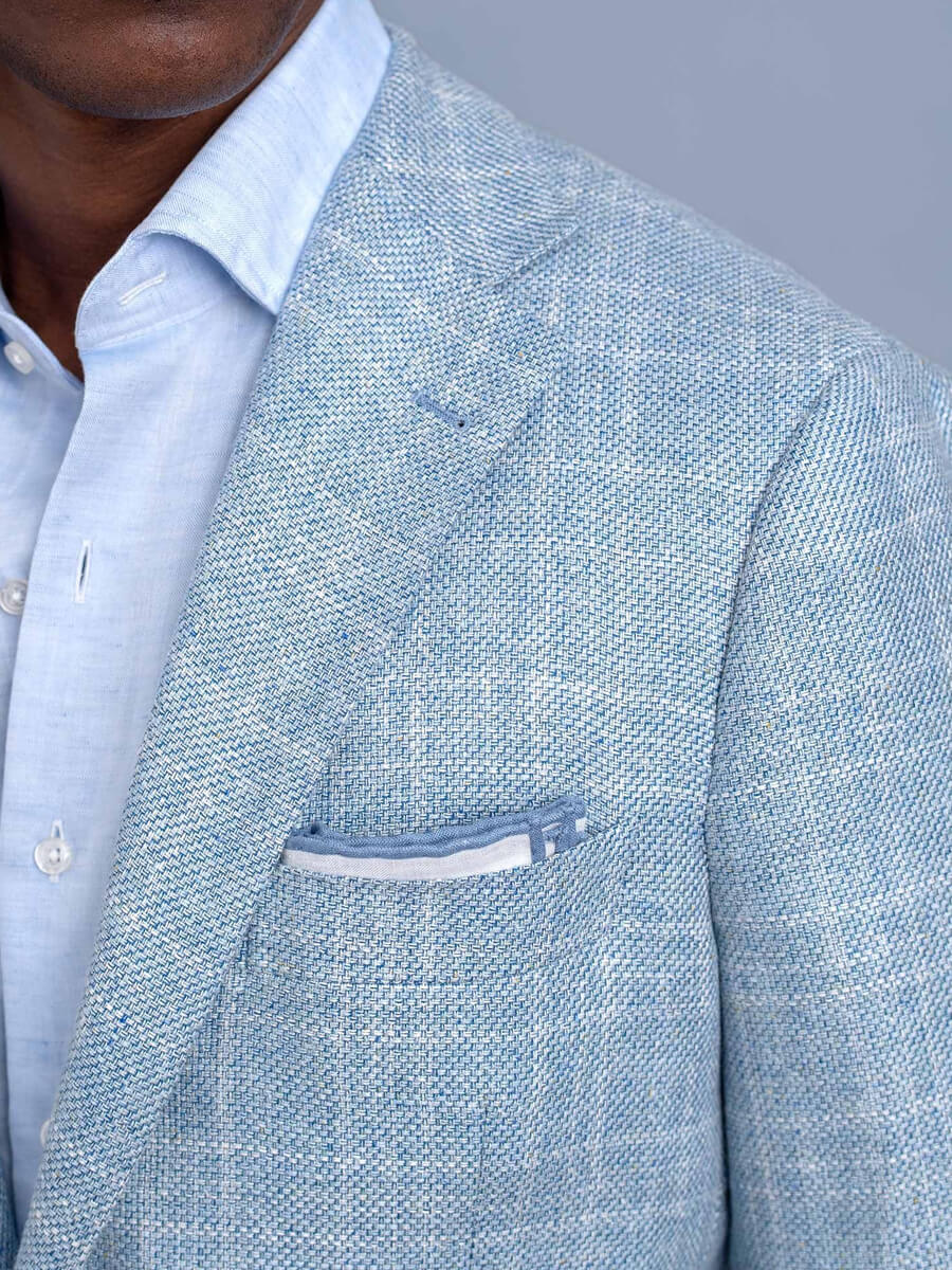 Light Blue Plaid Summer Blend Jacket