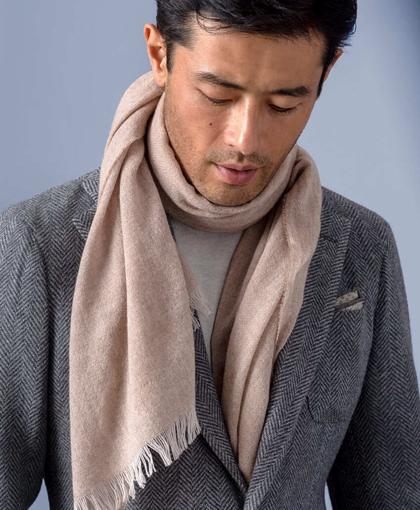 Cashmere and Wool Scarf - Camel-Colored Wool Gauze