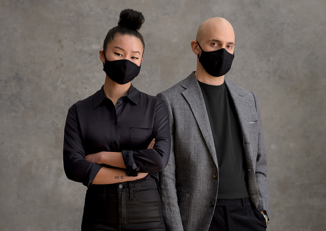 Fabric Face mask being worn by Man and Woman