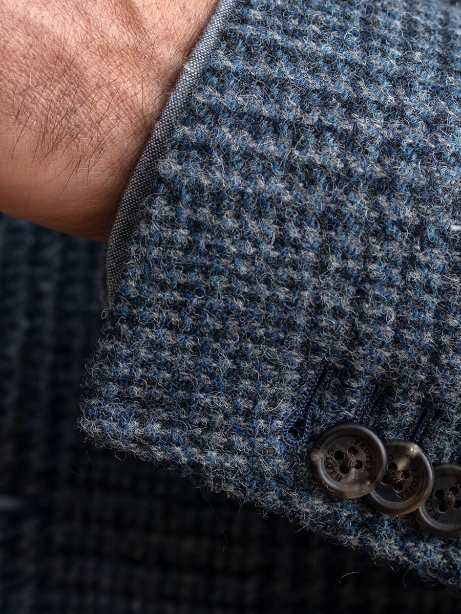 White Cotton and Linen Stretch Herringbone Jacket