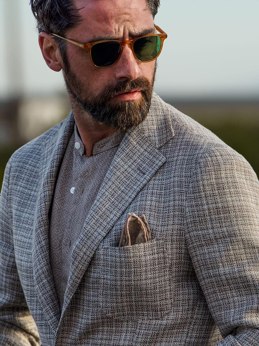Beige Hemp and Wool Basketweave Jacket