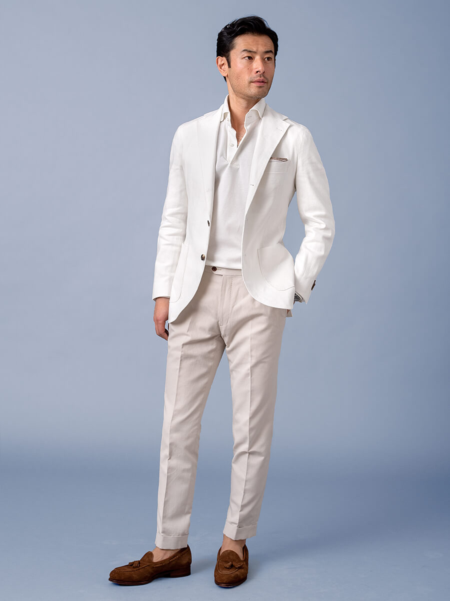 White Cotton and Linen Stretch Herringbone Jacket