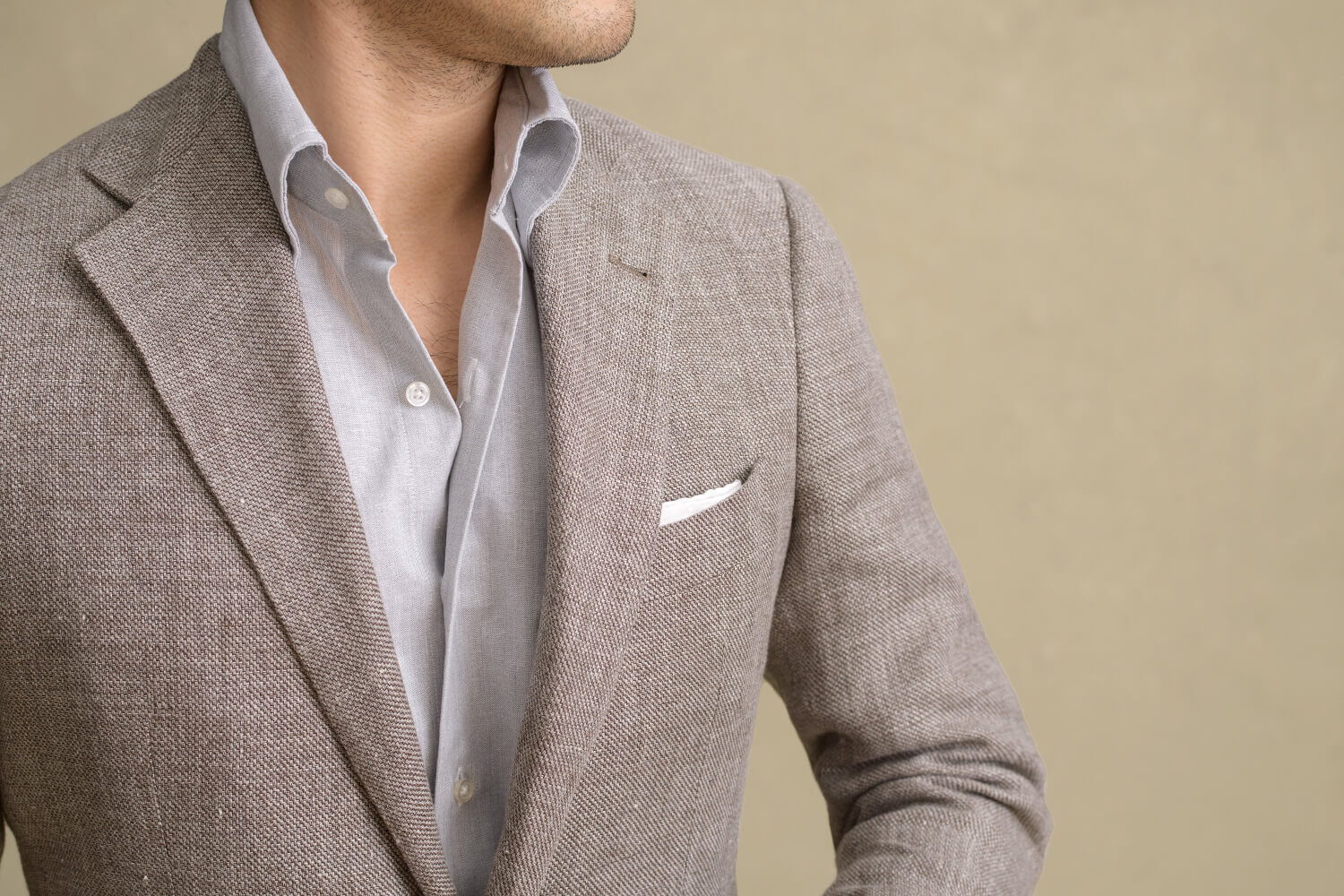 Look: Sustainable Chambray Zoomed