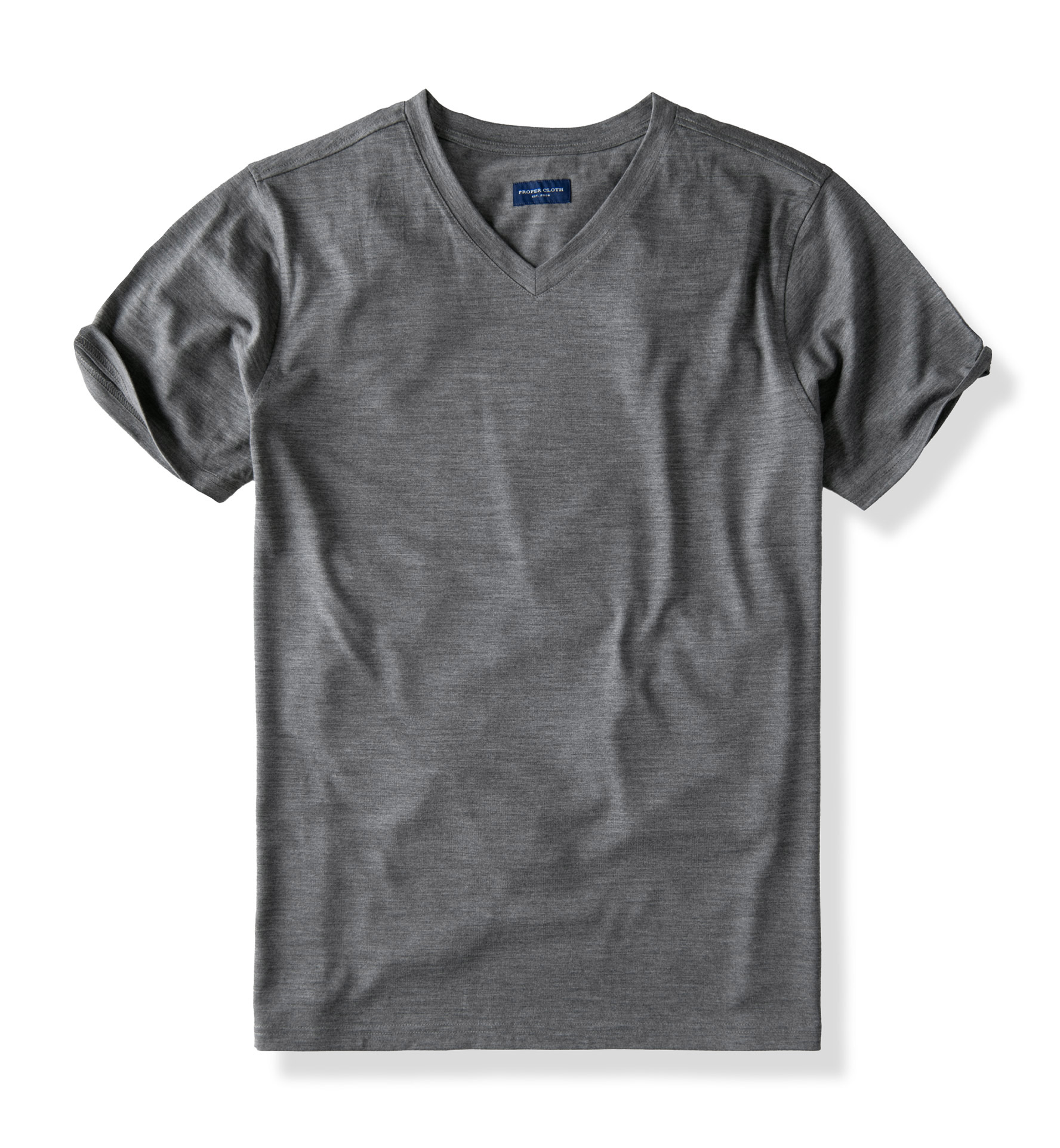 Zoom Image of Grey Merino Wool V-Neck T-Shirt