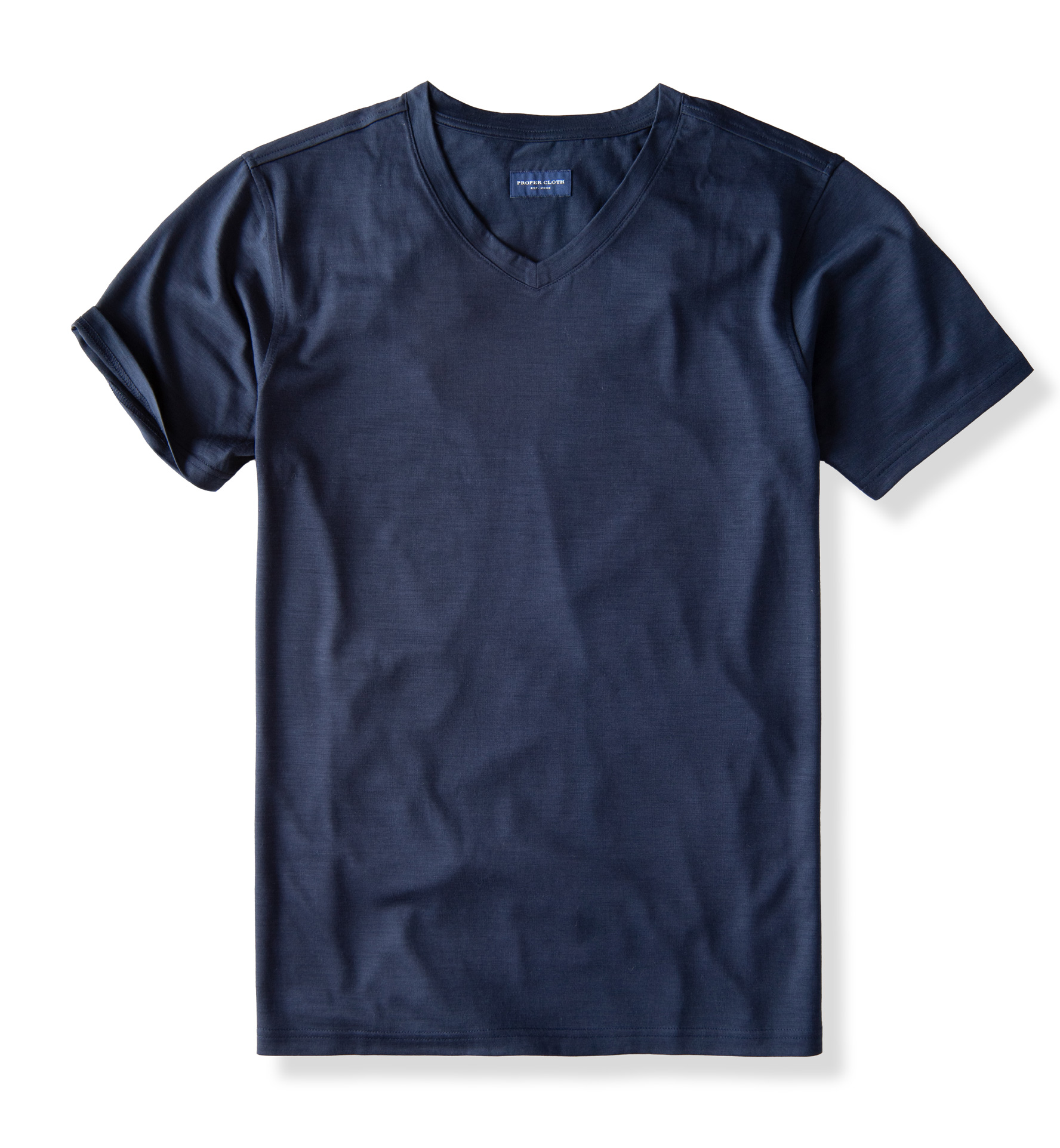 Zoom Image of Navy Merino Wool V-Neck T-Shirt