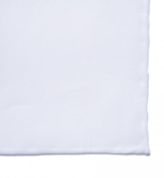 Essential White Cotton Linen Pocket Square