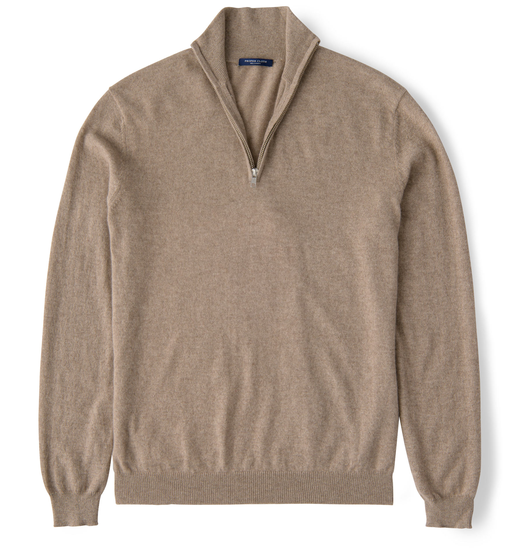 Zoom Image of Natural Taupe Cashmere Half Zip