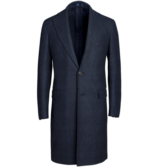 Bowery Navy Plaid Wool Unstructured Coat