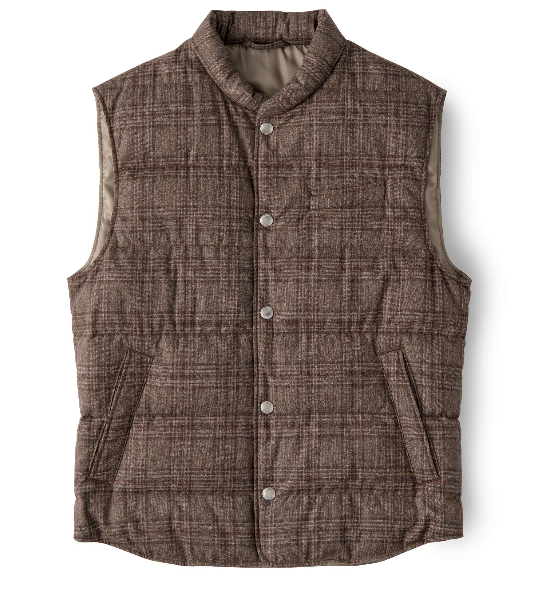 Zoom Image of Cortina Mocha Plaid Wool Snap Vest