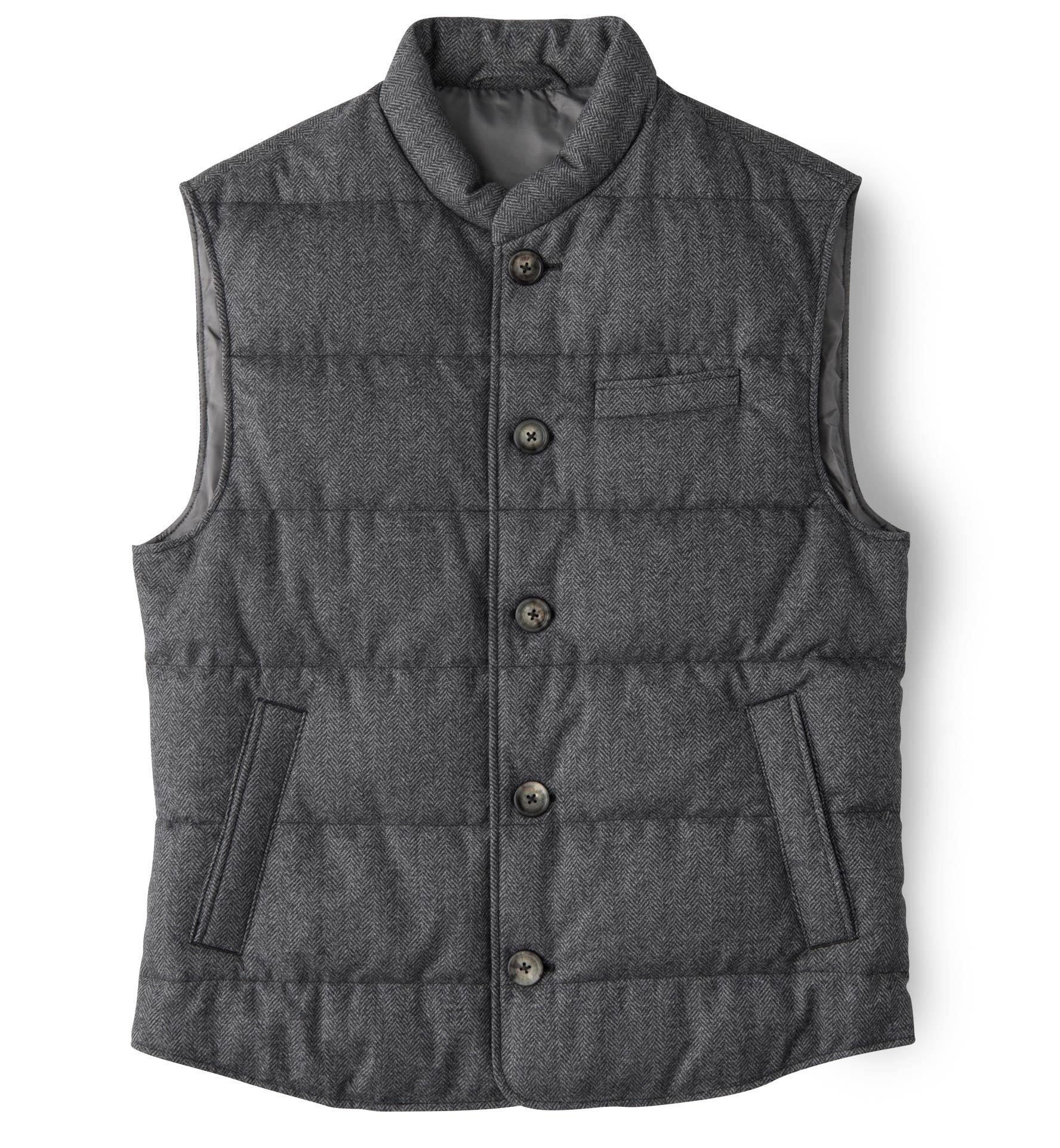 Zoom Image of Cortina Grey Herringbone Wool Button Vest