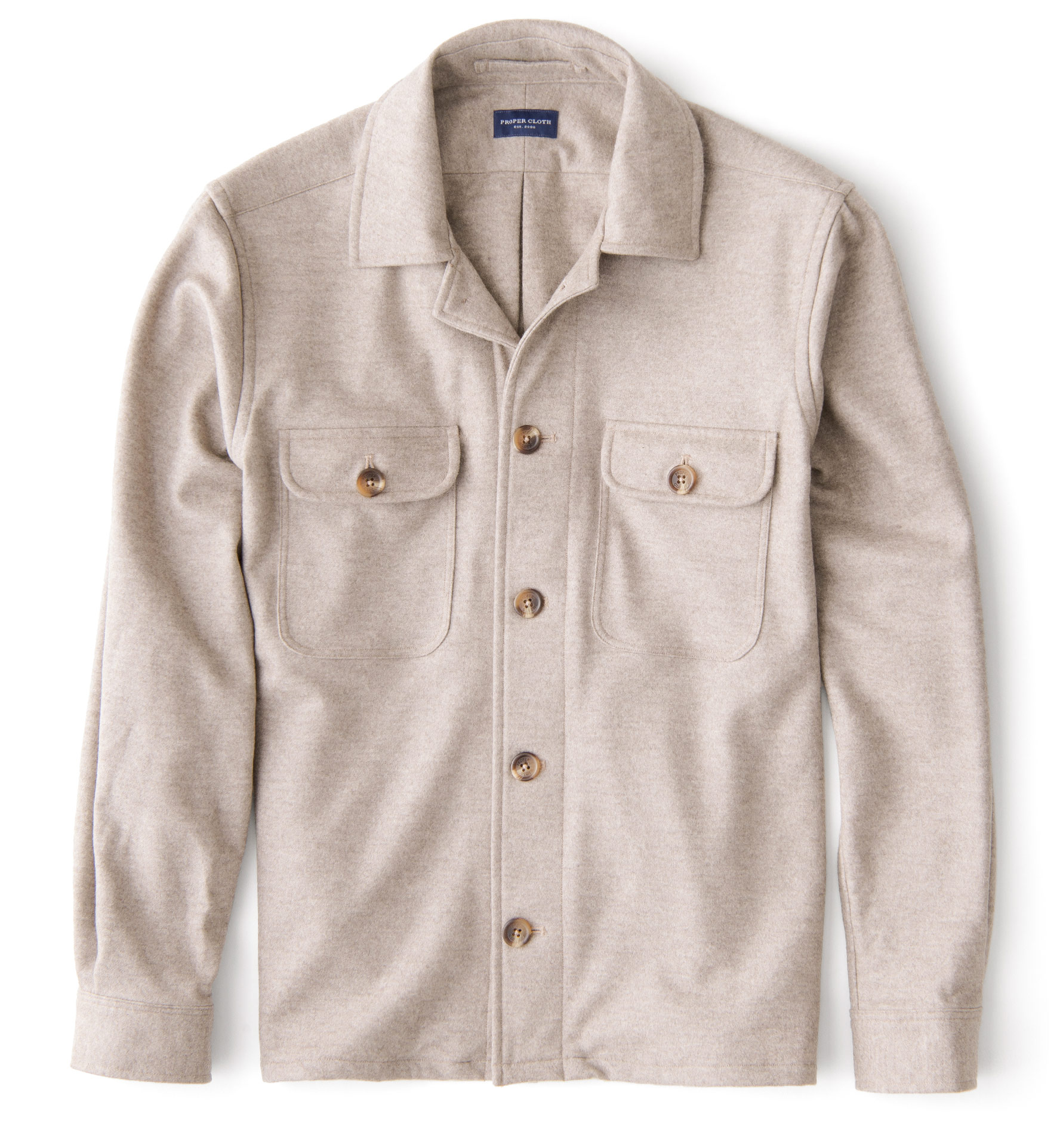 Zoom Image of Beige Wool and Cashmere Knit Overshirt