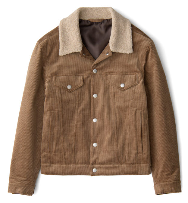 Lafayette Chestnut Corduroy Shearling Collar Jacket