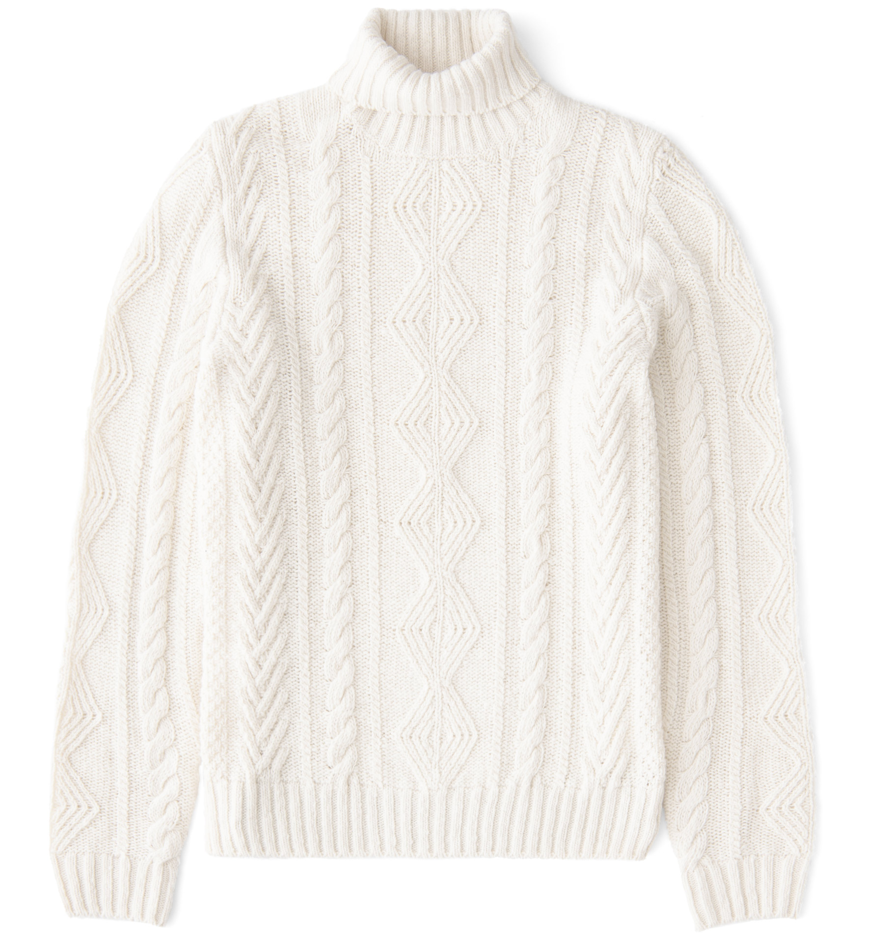 Zoom Image of Cream Donegal Wool and Cashmere Aran Turtleneck Sweater