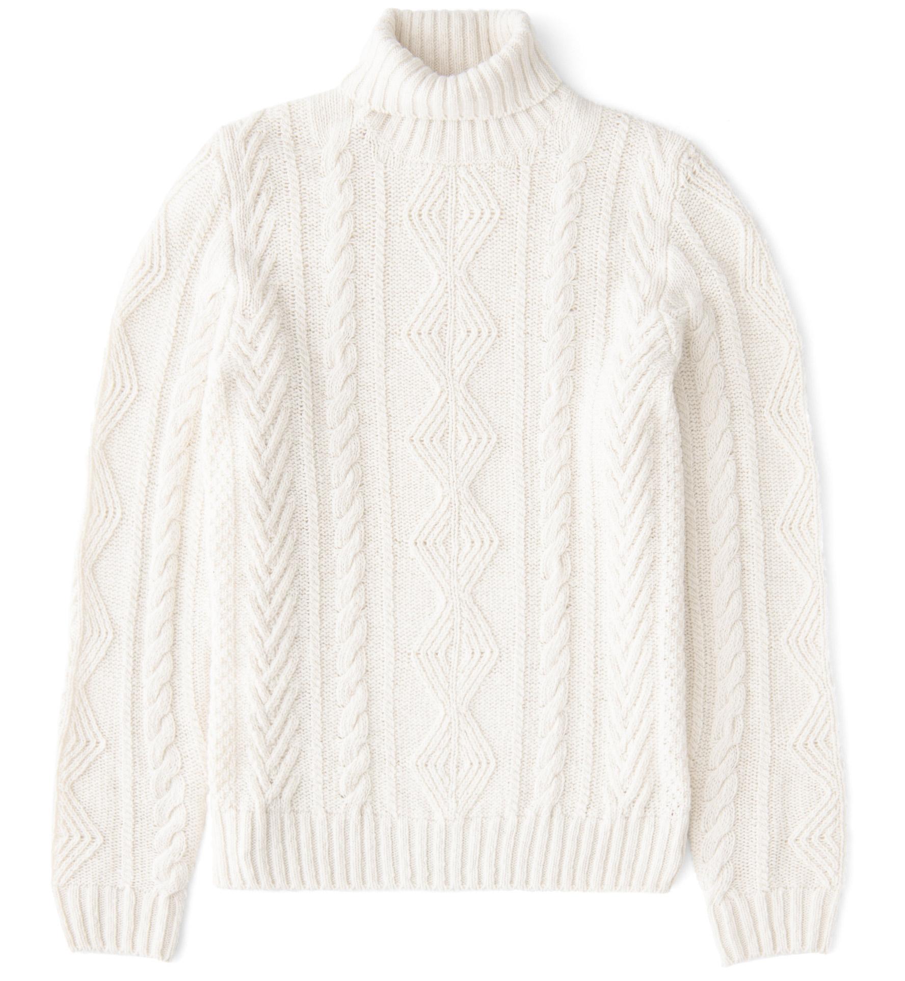 Zoom Image of Italian Cream Wool and Cashmere Aran Turtleneck Sweater