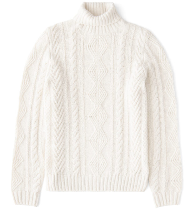 Cream Donegal Wool and Cashmere Aran Turtleneck Sweater