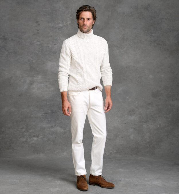 Italian Cream Wool and Cashmere Aran Turtleneck Sweater