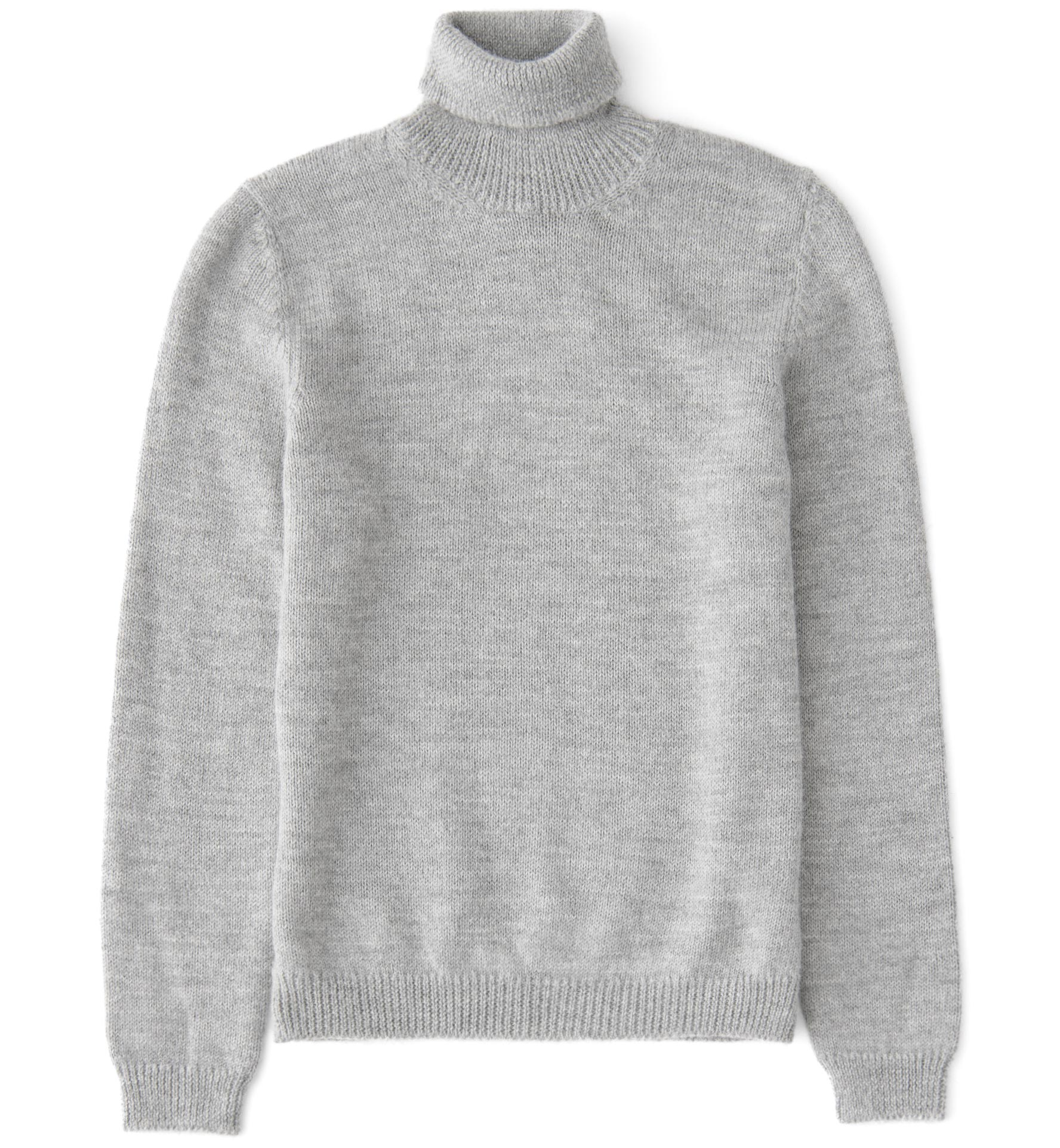 Zoom Image of Grey Melange Wool and Alpaca Turtleneck Sweater