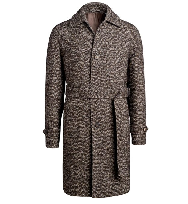 Waverly Brown Donegal Tweed Raglan Overcoat