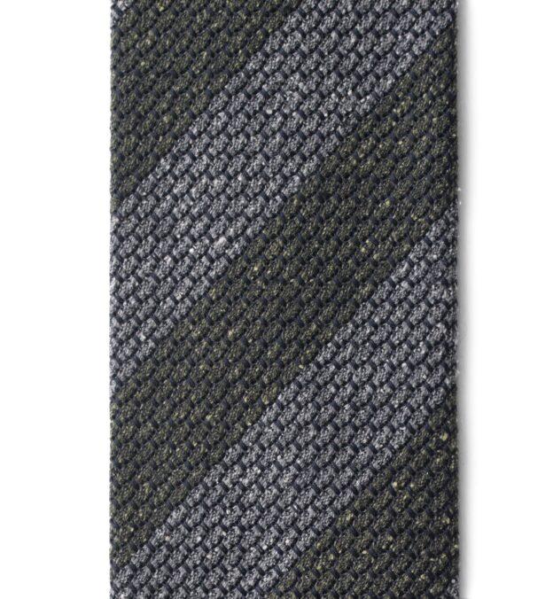 Grey and Pine Silk and Wool Grenadine Striped Tie