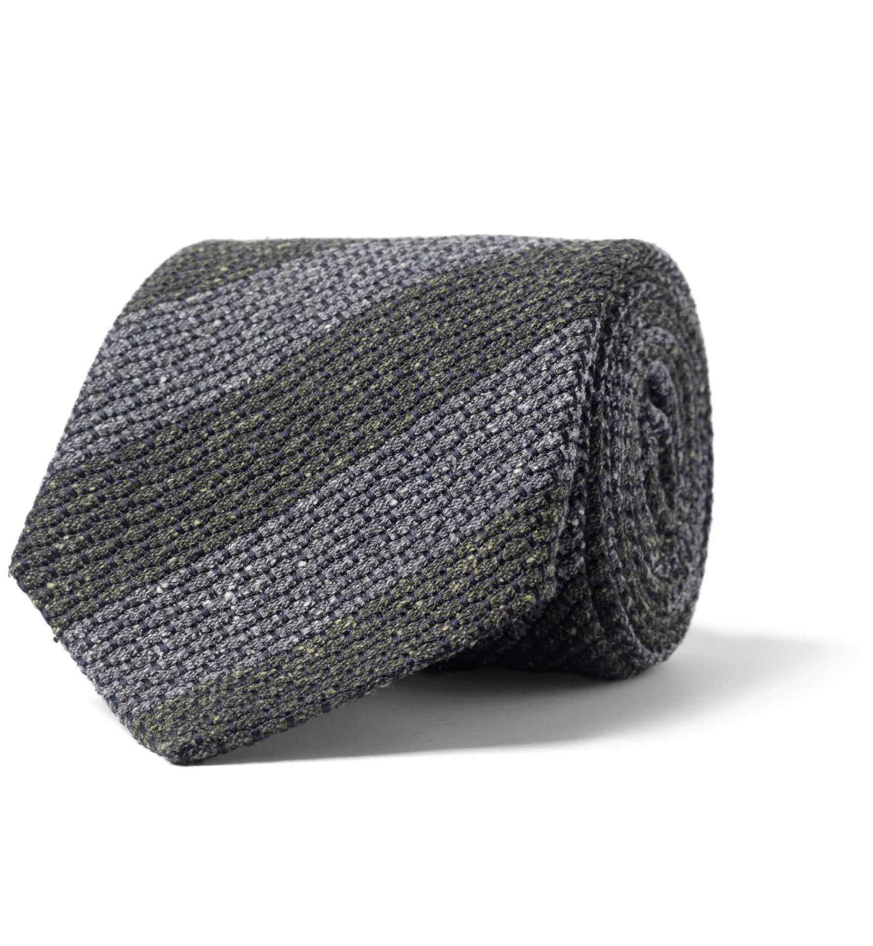 Zoom Image of Grey and Pine Silk and Wool Grenadine Striped Tie
