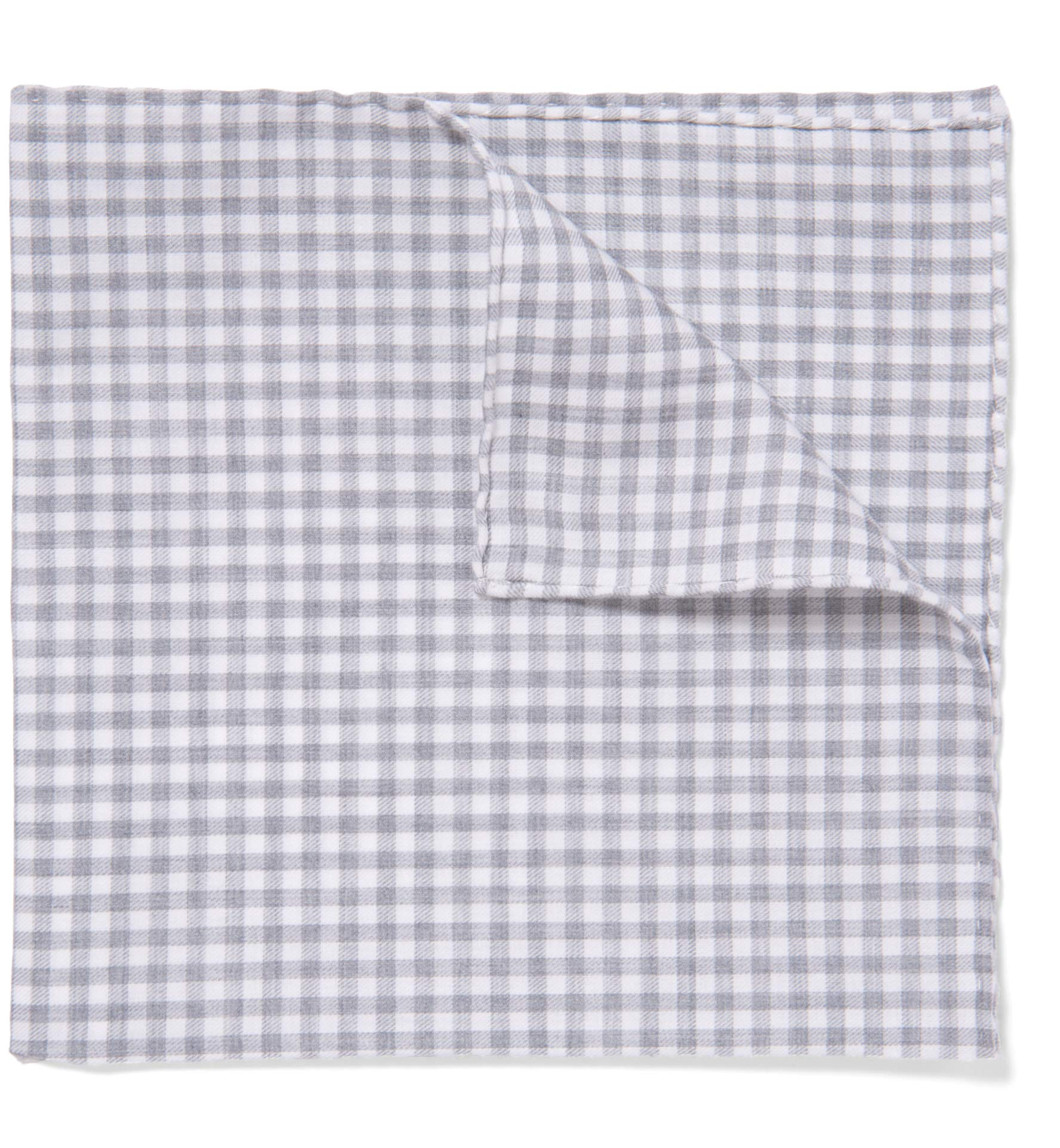 Zoom Image of Grey Peached Gingham Pocket Square