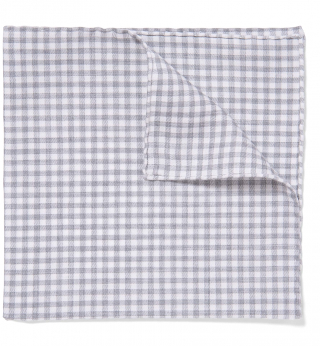 Grey Peached Gingham Pocket Square