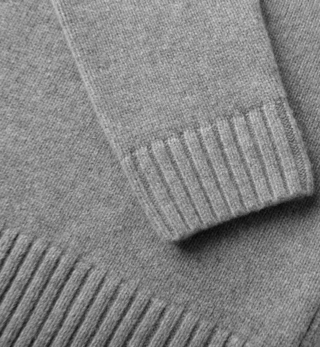 Grey Wool and Cashmere Half-Zip Sweater