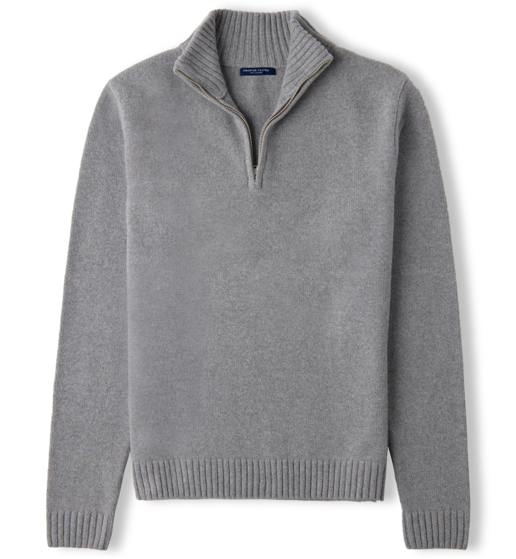 Zoom Image of Grey Wool and Cashmere Half-Zip Sweater