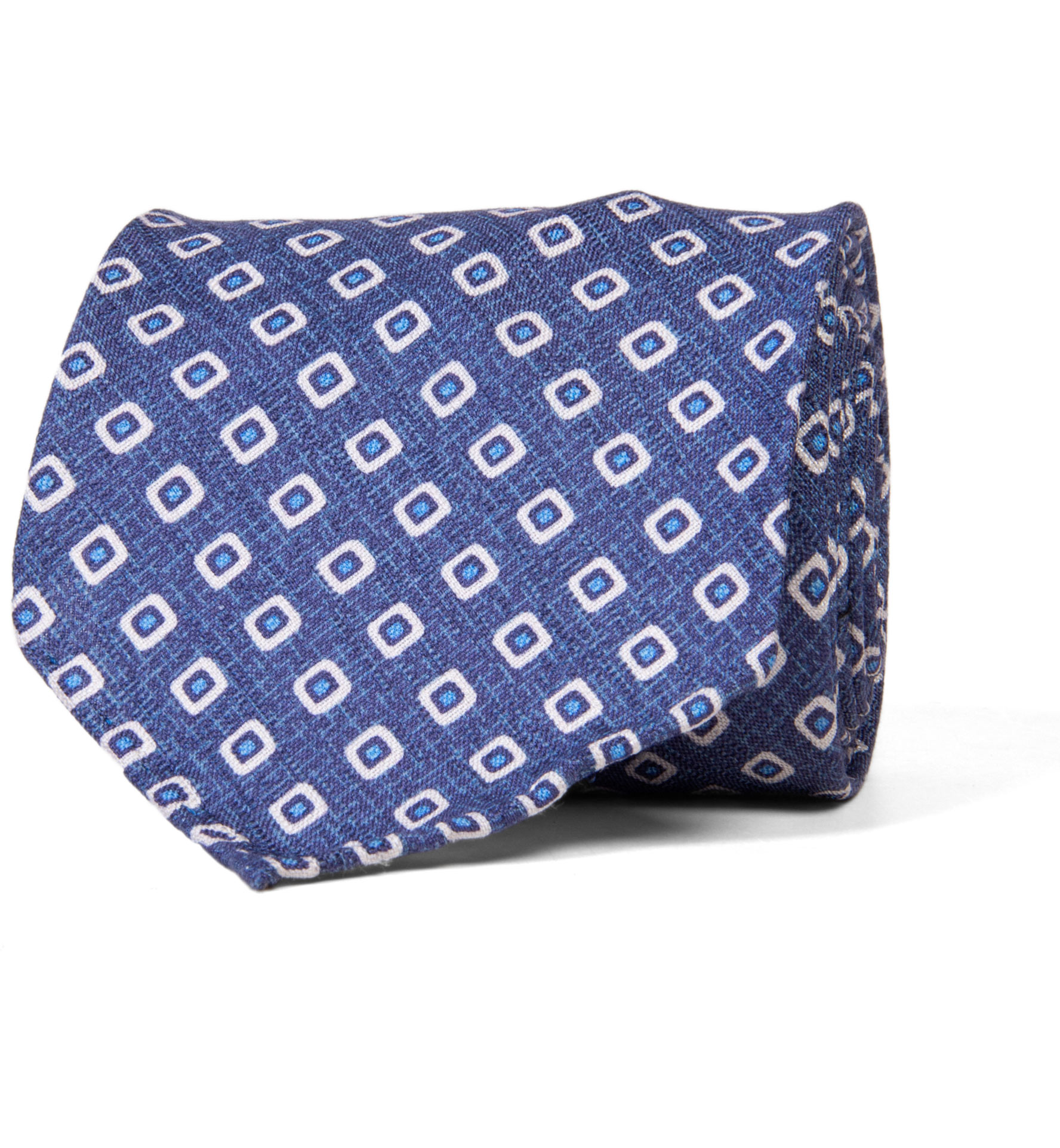 Zoom Image of Olmo Blue and White Block Print Tie