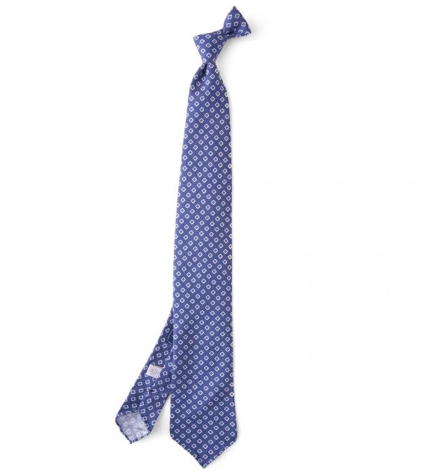Olmo Blue and White Block Print Tie