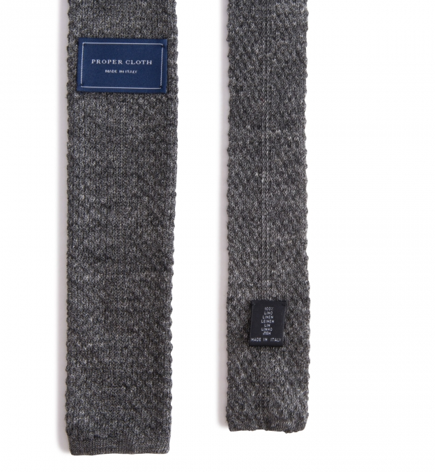 Grey Linen Knit Tie