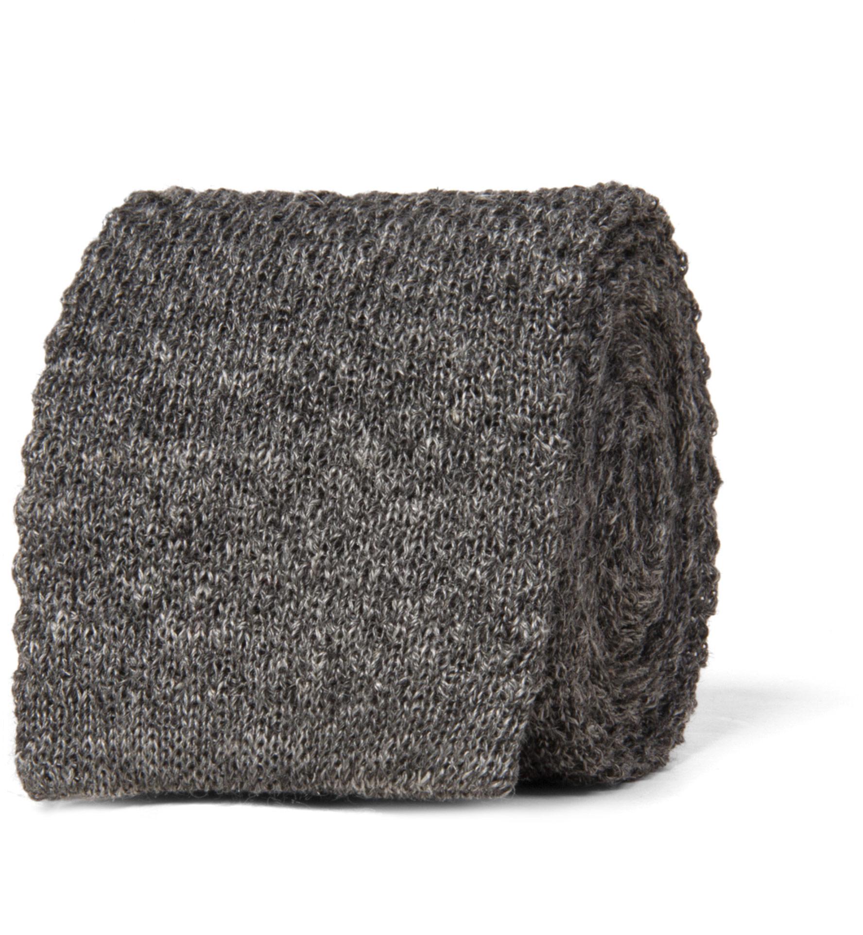 Zoom Image of Grey Linen Knit Tie