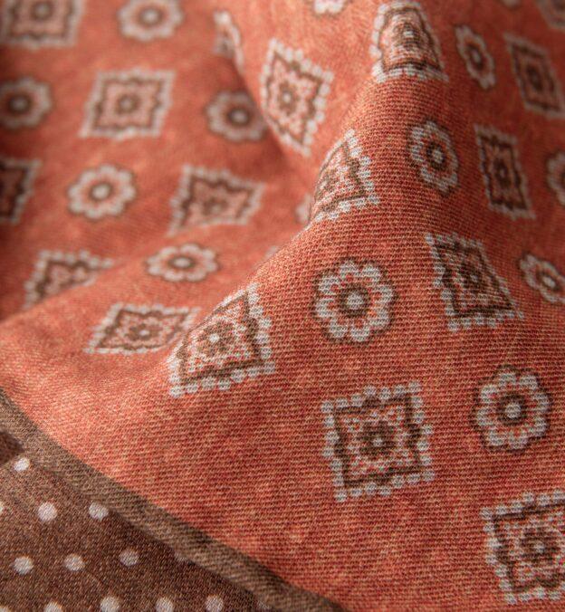 Orange and Brown Foulard Print Pocket Square