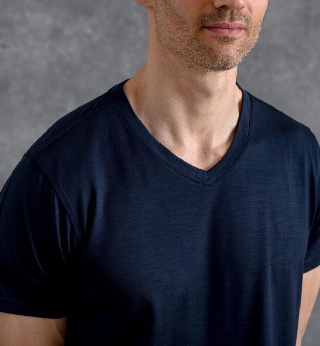 Navy Merino Wool V-Neck T-Shirt