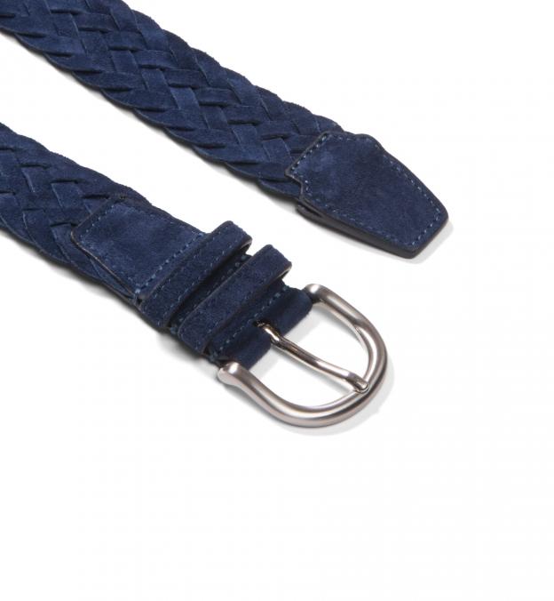 Navy Suede Braided Belt