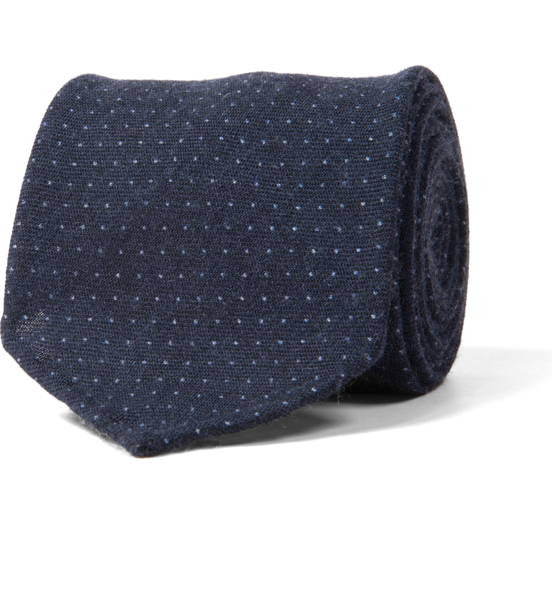 Zoom Image of Biella Navy Wool Pinpoint Tie