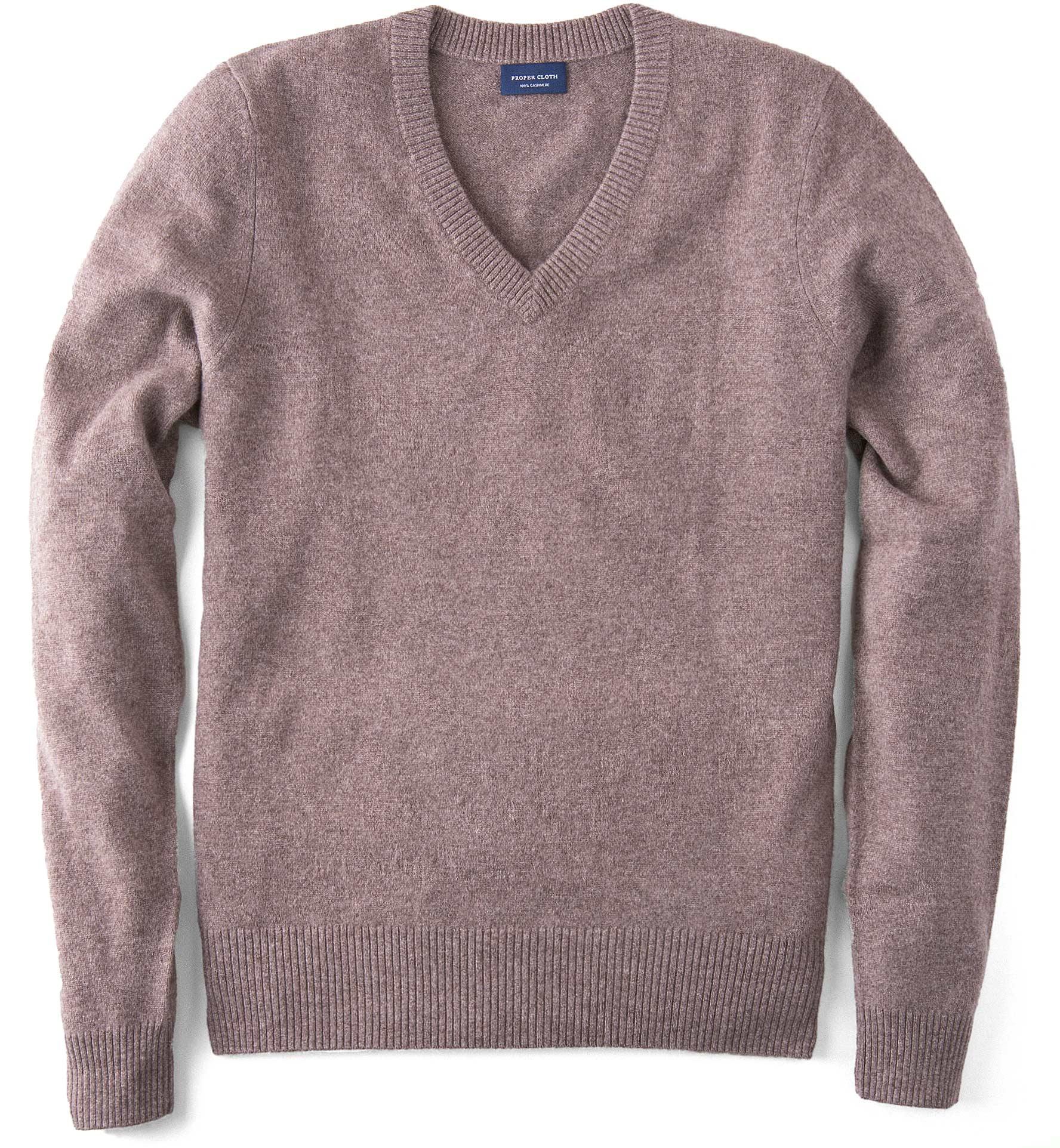 Zoom Image of Beige Cashmere V-Neck Sweater