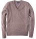 Beige Cashmere V-Neck Sweater Product Thumbnail 1